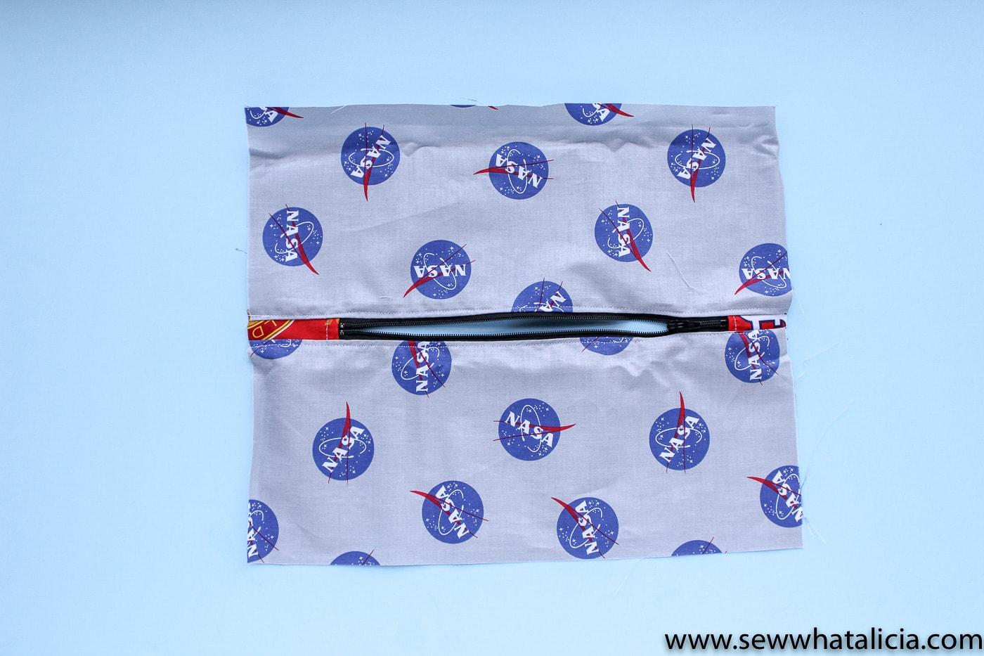 NASA pencil pouch on blue background