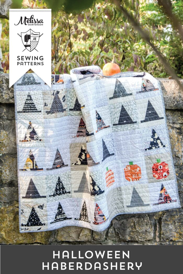 halloween witch hat quilt on stone wall
