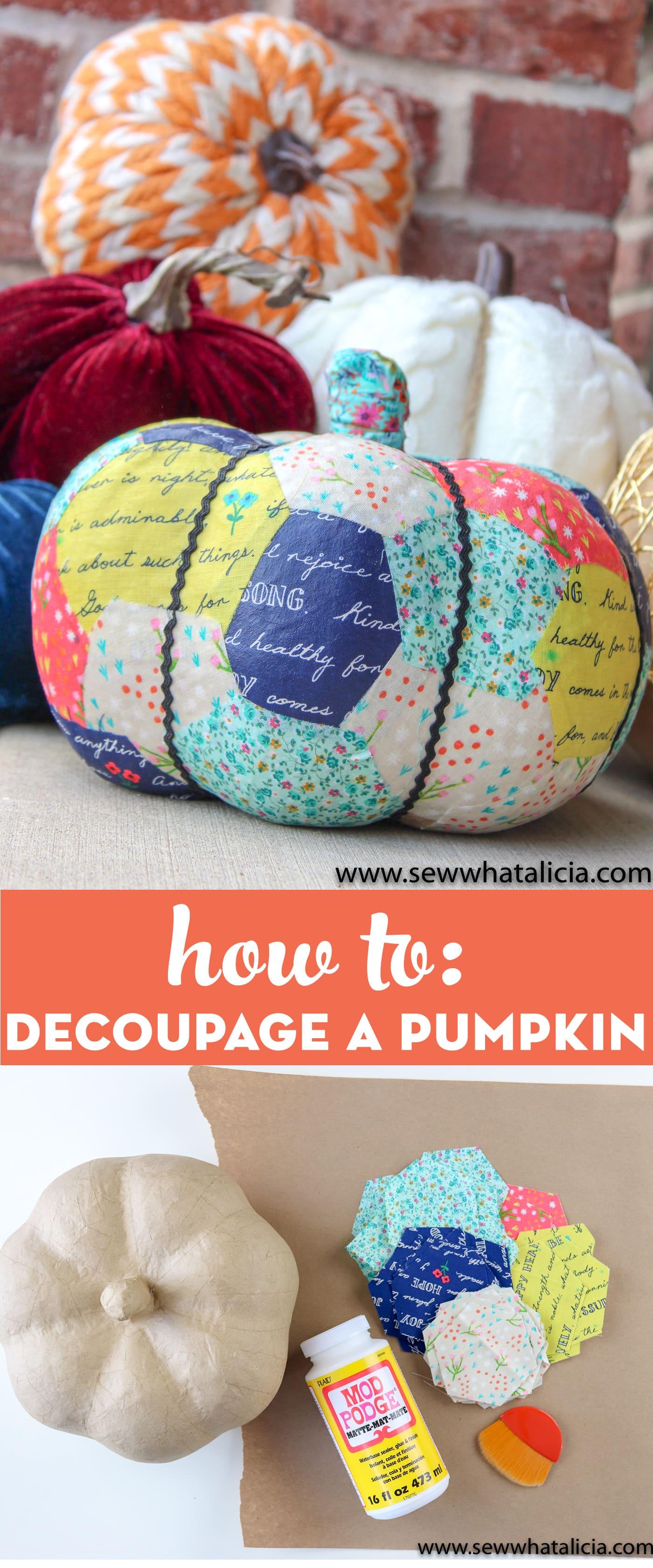 fabric decoupaged pumpkin