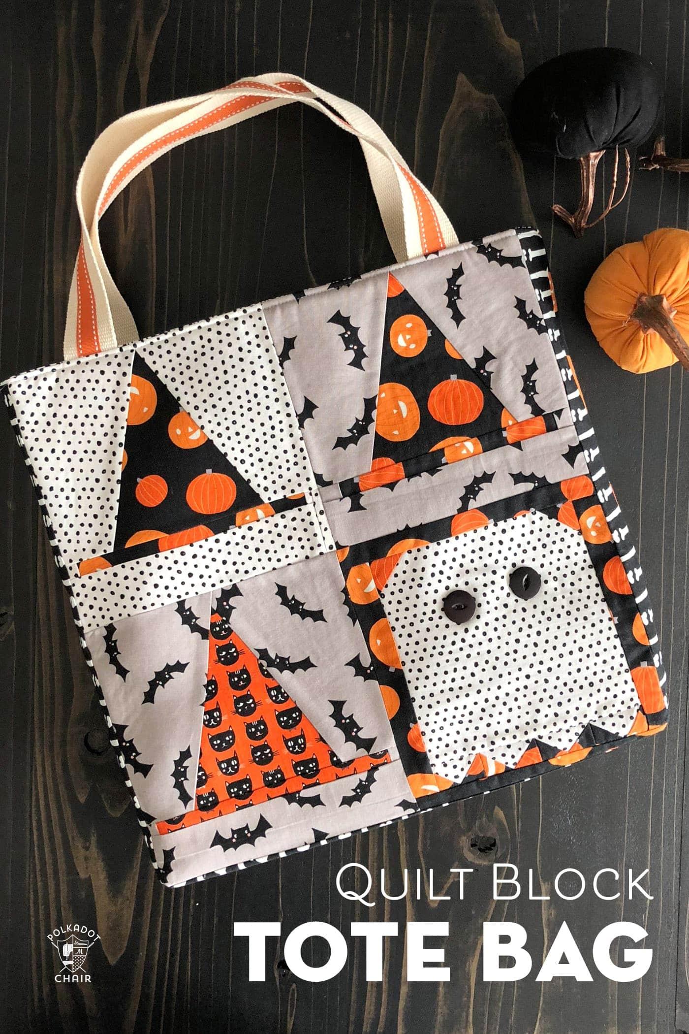 Quilt block tote bag- Halloween