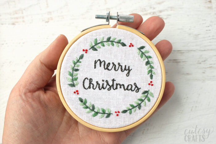 Merry Christmas Embroidery Hoop Ornament
