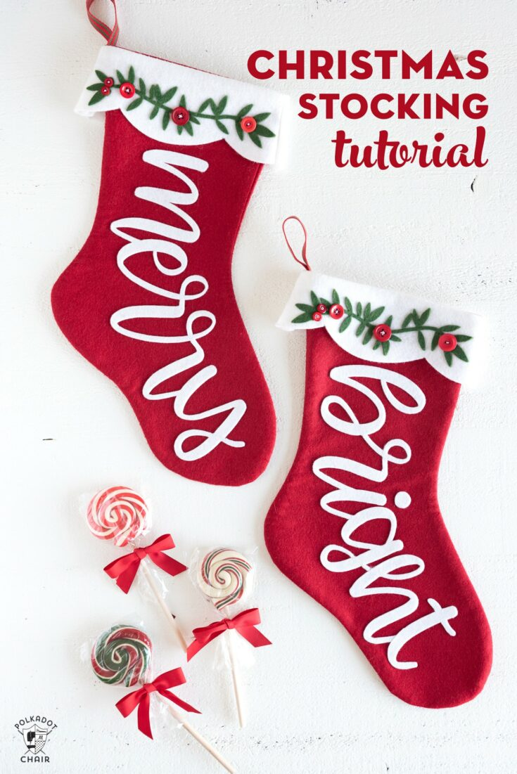 Merry & Bright Christmas Stocking Pattern a Cricut Maker Project