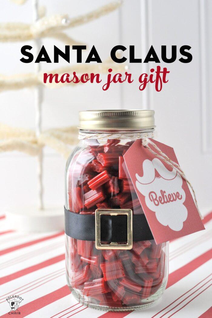 Santa Christmas Mason Jar gift idea