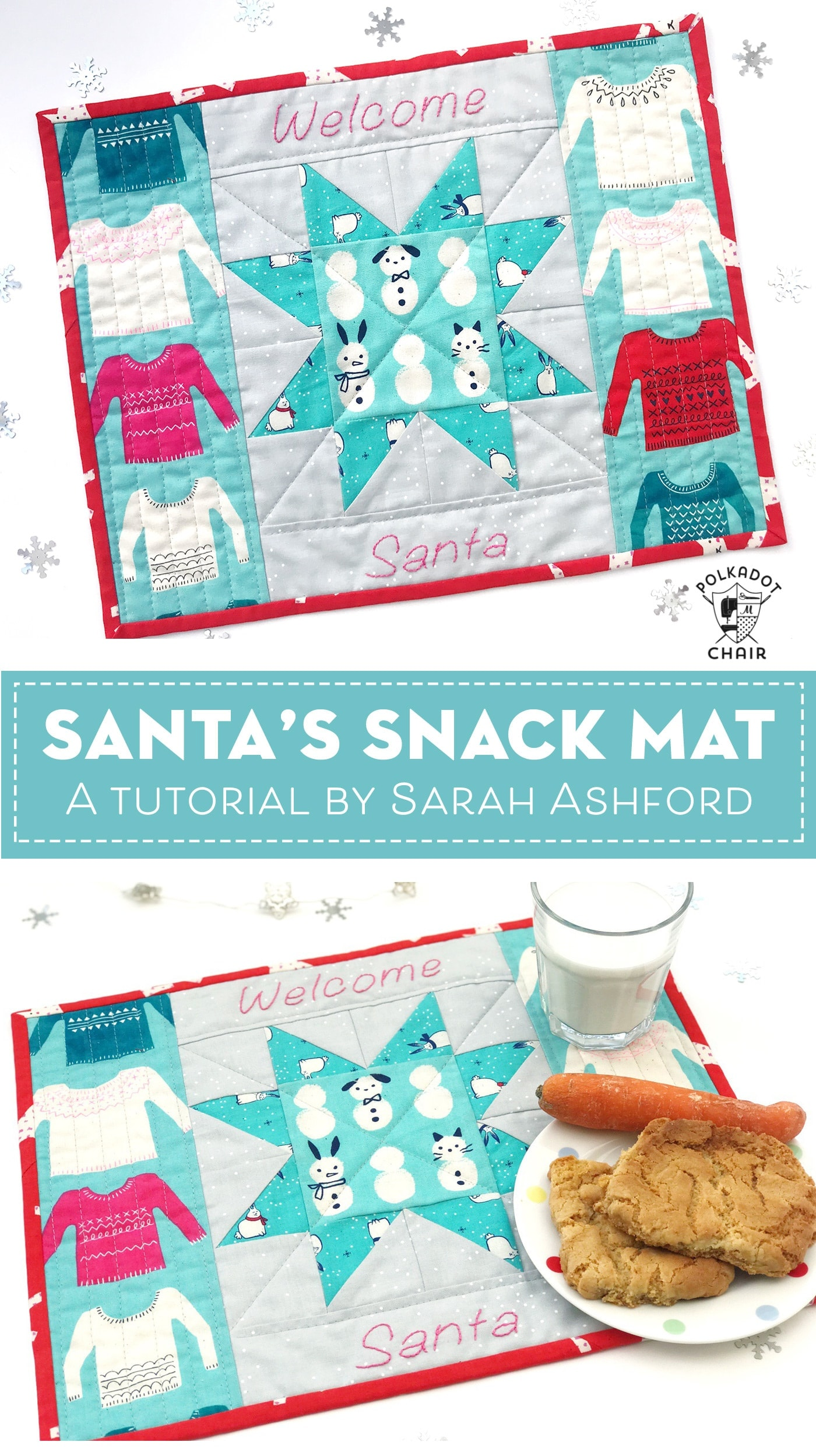 Santa's Snack Mat a Christmas Mini Quilt Tutorial