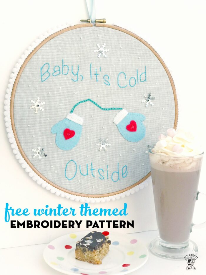Winter Hand Embroidery Pattern on White Table