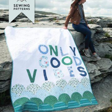 good vibes quilt at beach