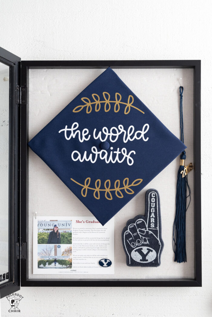 Graduation Shadow box with graduation cap, photo and tassel