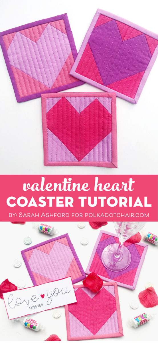 Steps to make Valentine Heart Coaster on white table