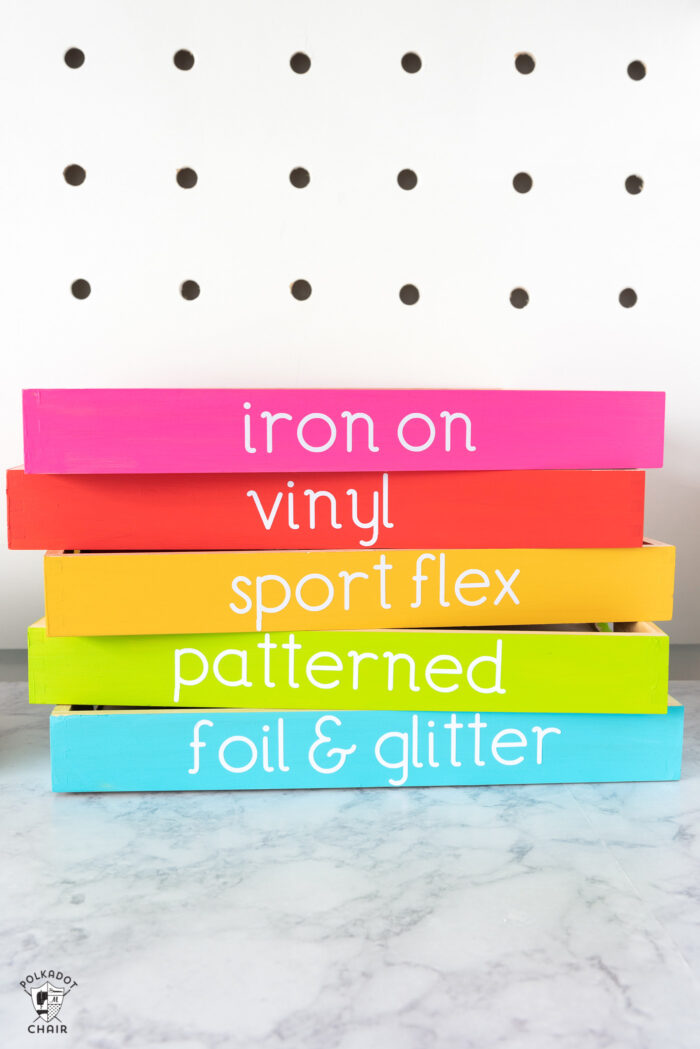 colorful wood vinyl storage trays for cricut vinyl