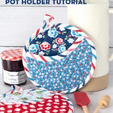 Round pot holder on white table