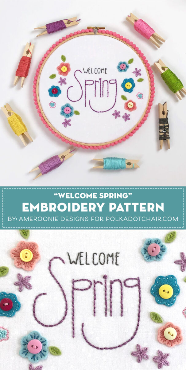 welcome spring hand embroidery pattern on white background