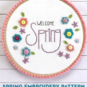 Welcome Spring Hand Embroidery Hoop with pom pom trim