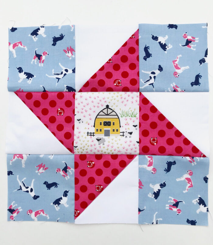 completed friendship star quilt block