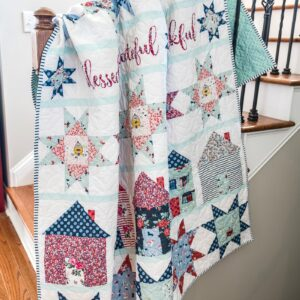 let's stay home quilt pattern on stairs