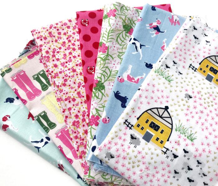 Fox Farm fabrics on table