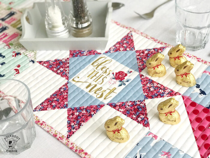 Quilted Table runner on table with dishes