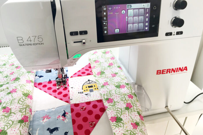quilting table runner on sewing machine