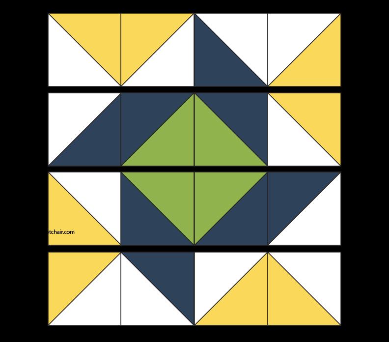 Assembled Summer pinwheel quilt block layout
