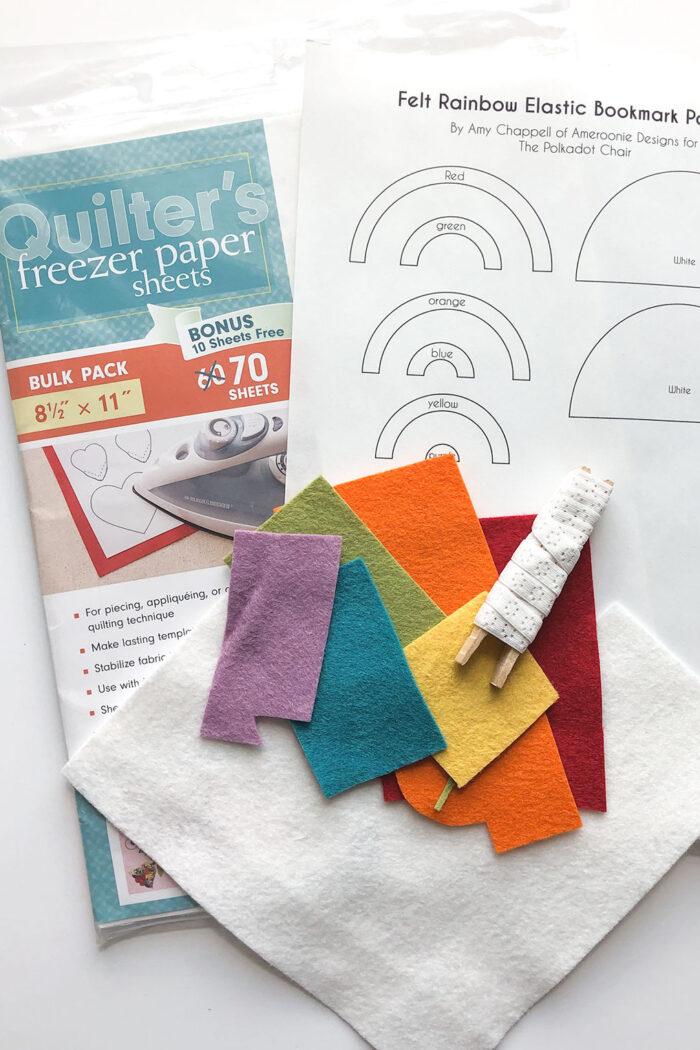 supplies for elastic felt bookmark