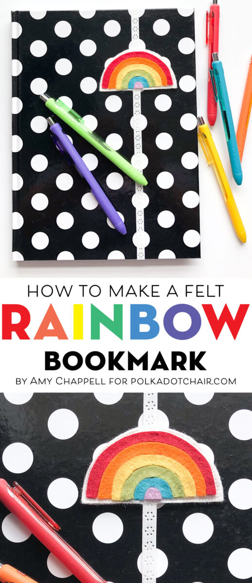Rainbow Felt bookmark on polka dot journal