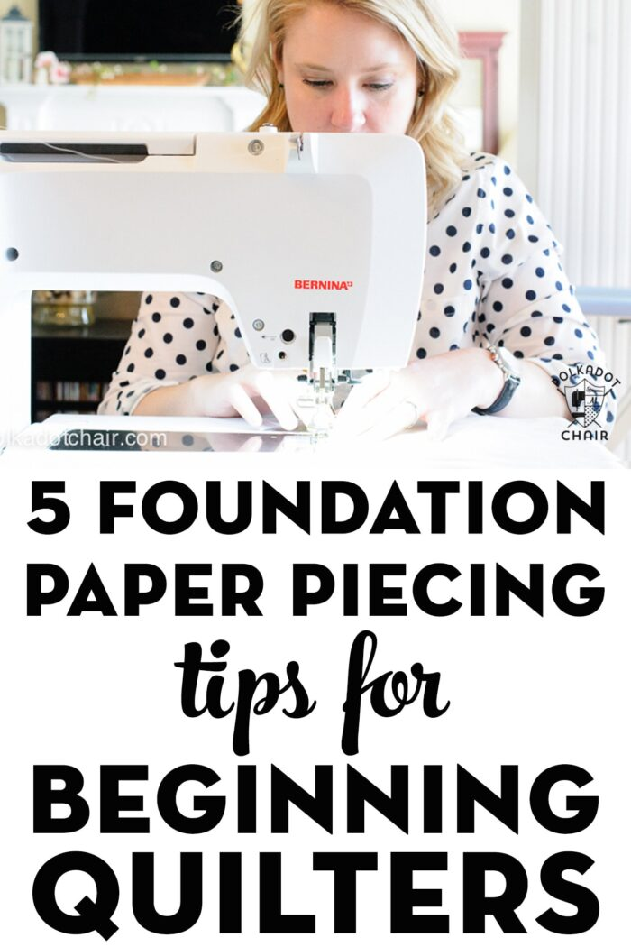 Woman at sewing machine sewing foundation paper piecing patterns