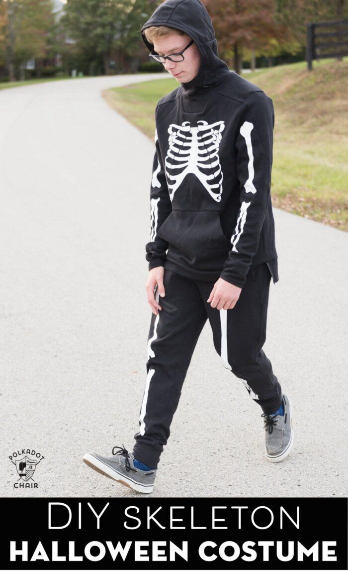 DIY Skeleton Costume on teen standing outside