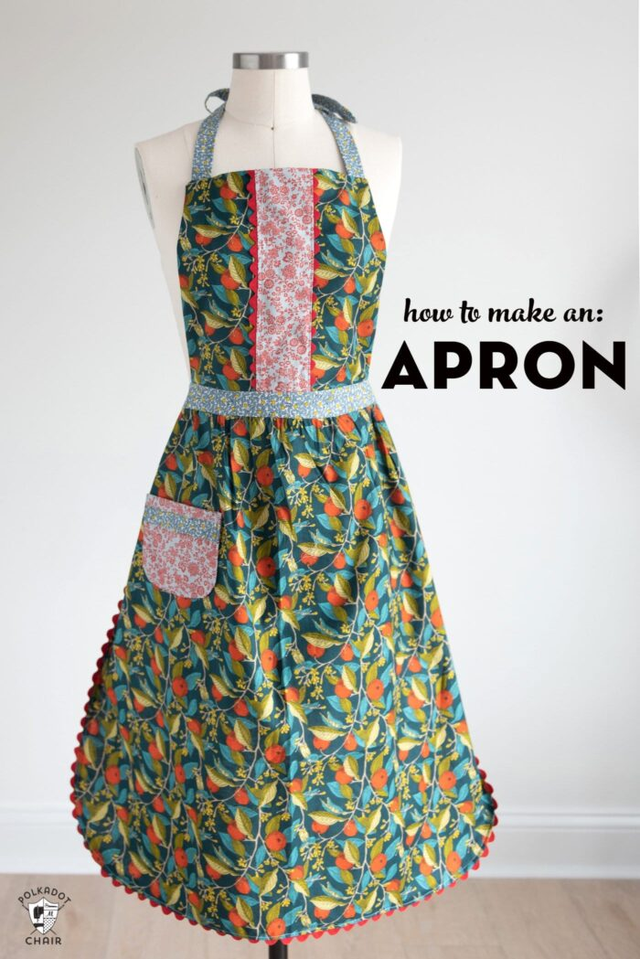 Free apron sewing pattern on mannequin