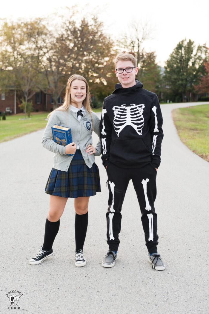 Teen girl in Gilmore Girls costume and teen boy in DIY Skeleton Halloween costume, standing outdoors
