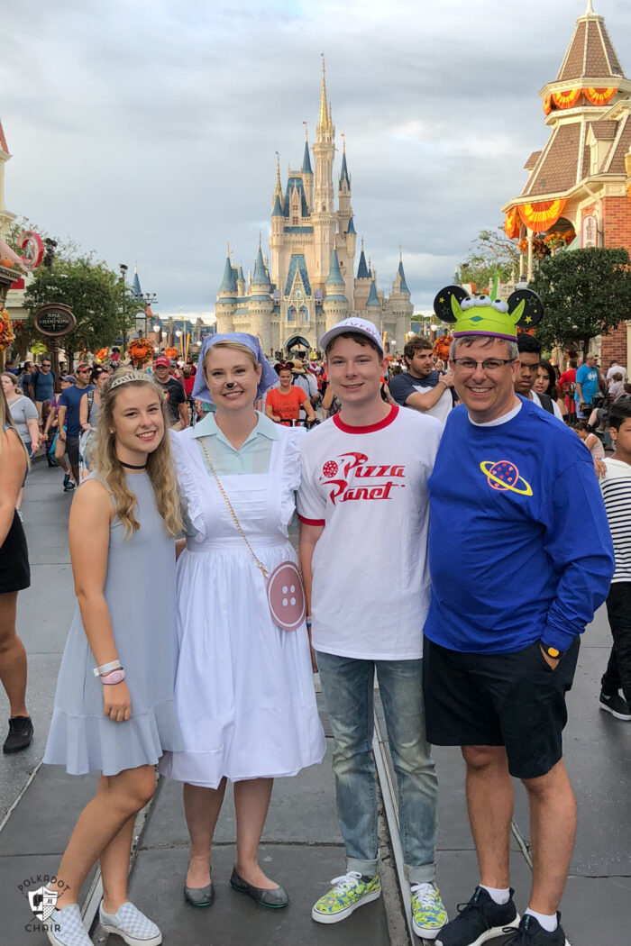 Family dressed up for Halloween Party at Disney World
