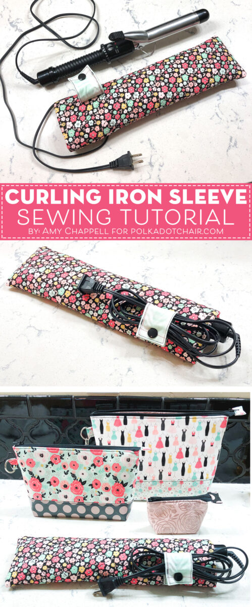 Travel Curling iron case on white countertop