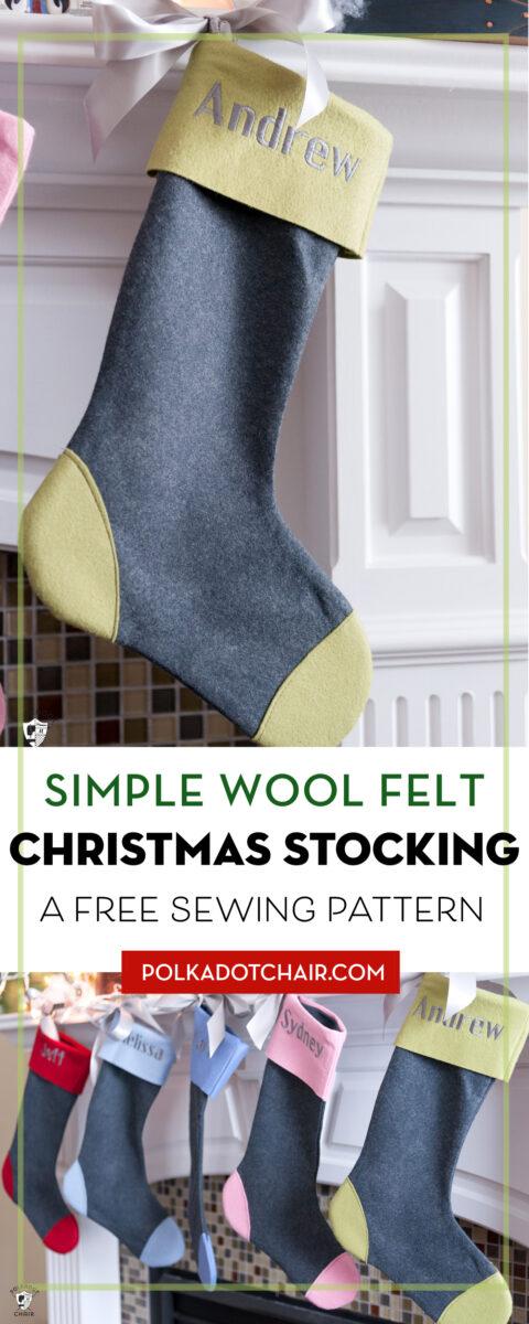 Wool Felt Christmas Stocking hanging on fireplace mantle. Collage image with multiple christmas stockings.
