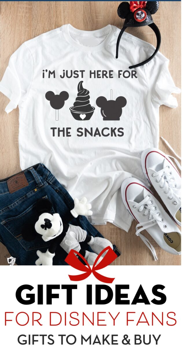 Title image for Disney Gift Ideas list. White Disney t-shirt on table.