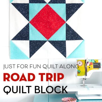 Road trip quilt block on white wall with sewing machine