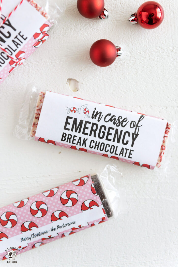 Printable chocolate candy bar wrappers for Christmas