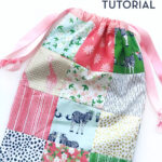 patchwork drawstring bag completed on white tabletop
