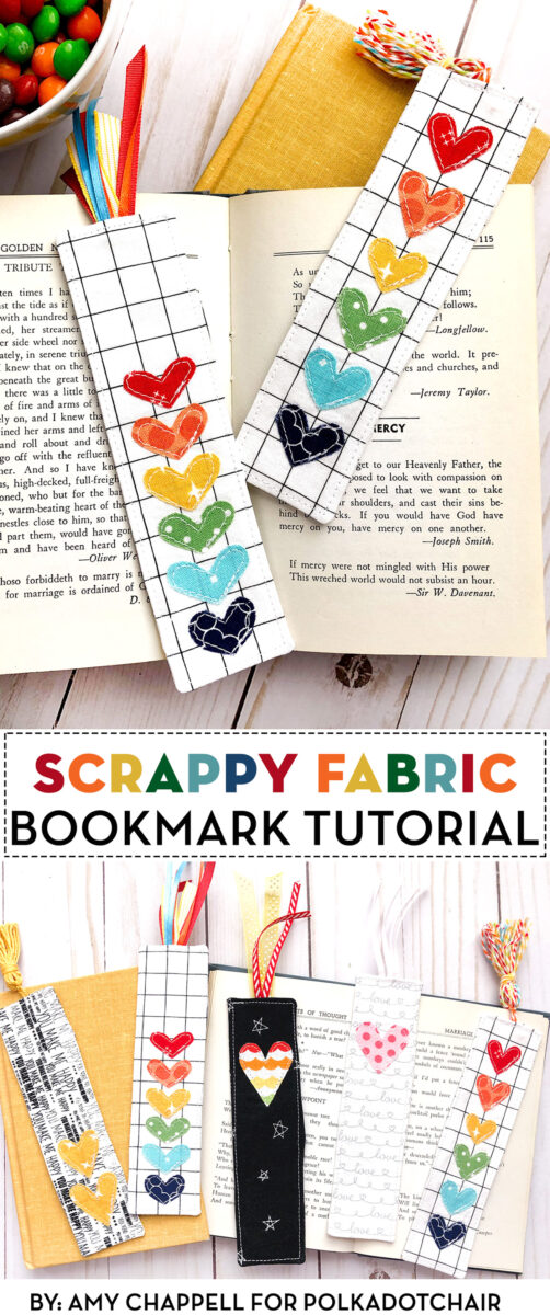 Scrappy fabric bookmarks on books in collage image