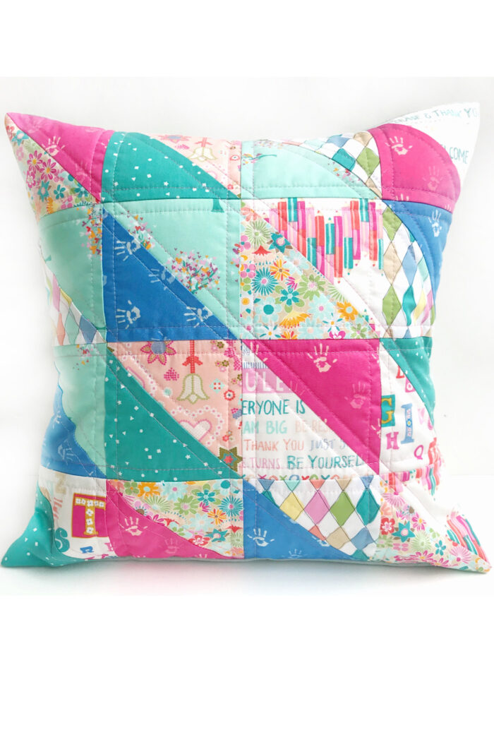quilted pillow on white background