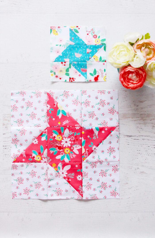 Friendship star quilt block on white table