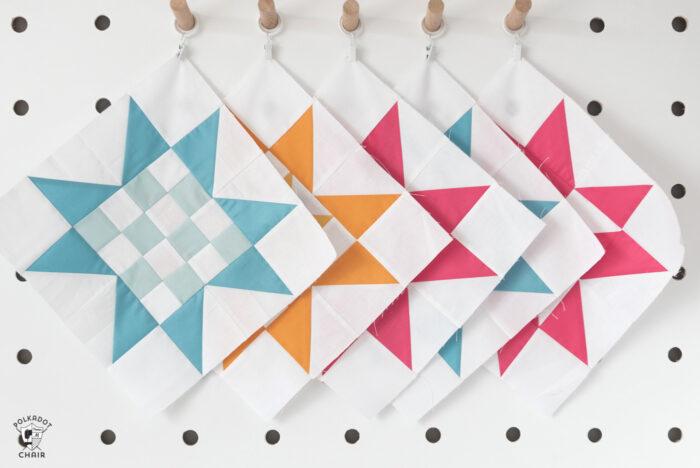 quilt blocks on peg board
