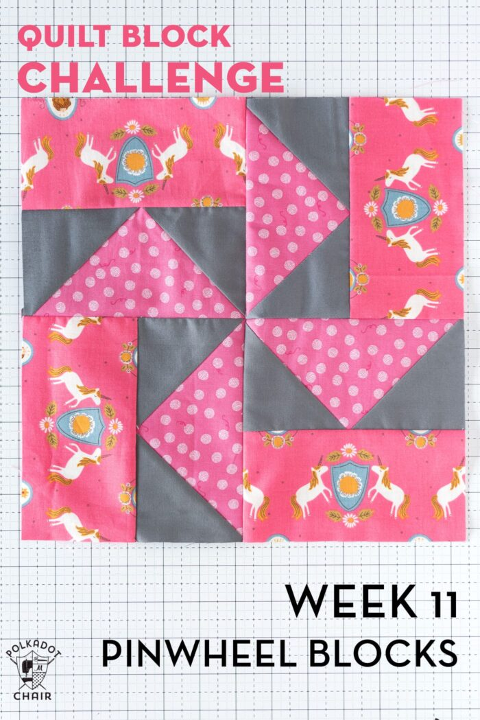 gray pinwheel quilt block on white cutting mat