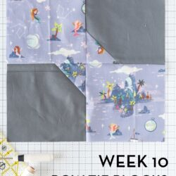 bow tie quilt block on white cutting mat