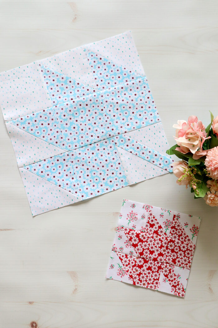 maple leaf quilt block on white table