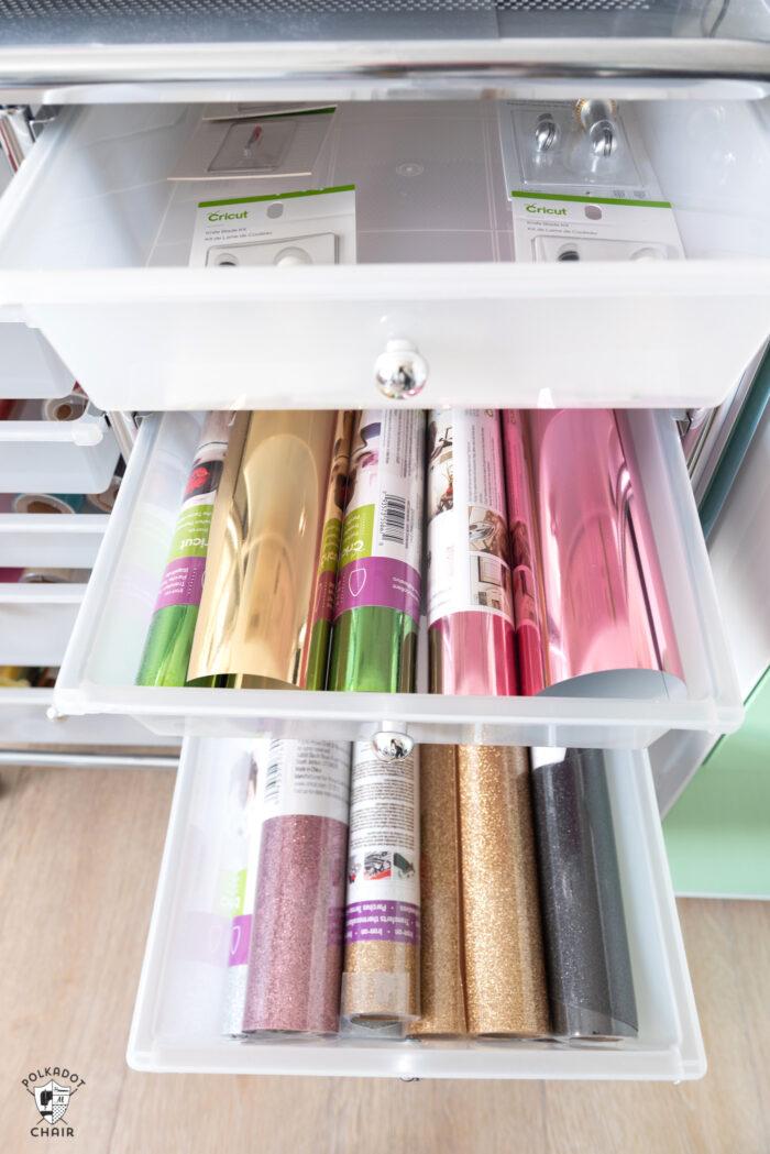 drawers full of cricut maker materials