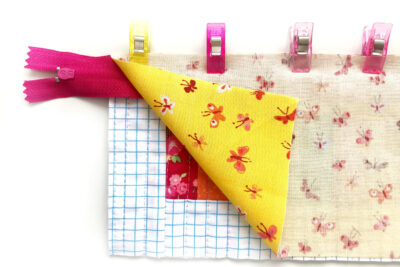 pencil pouch during construction with binding clips