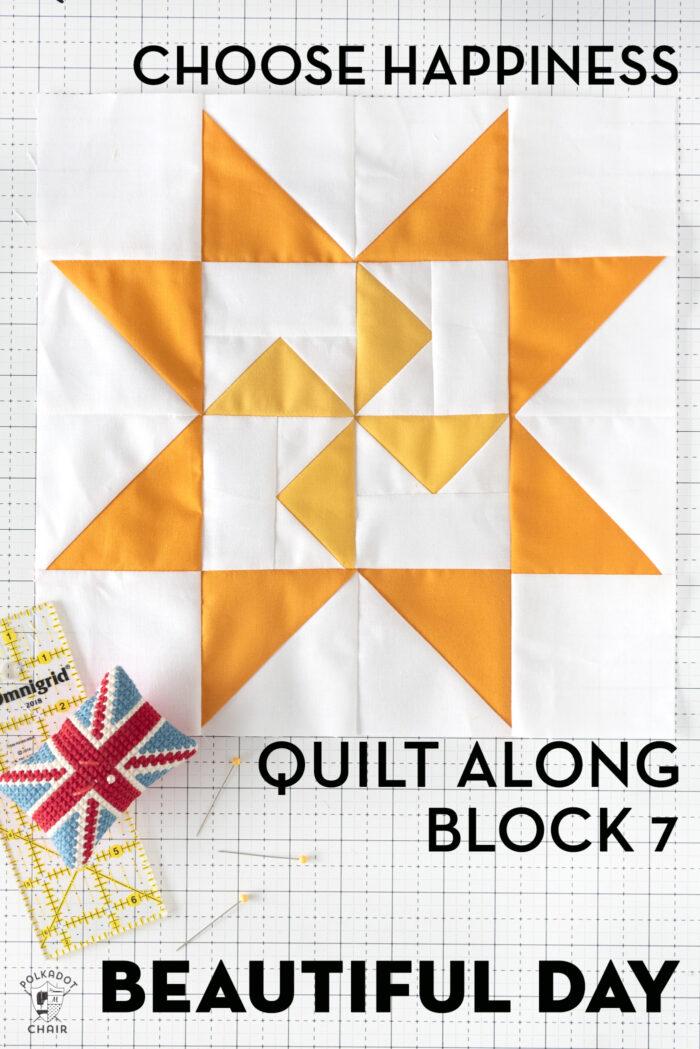 yellow quilt block on white cutting mat