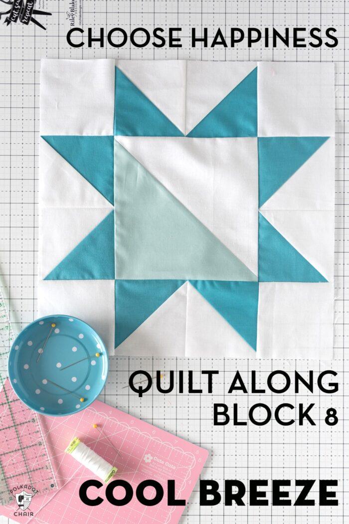 blue quilt block on white cutting mat