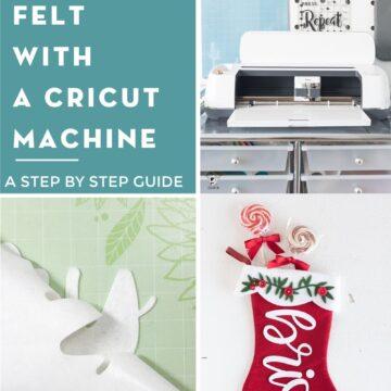 collage image with cricut machine, felt and christmas stocking