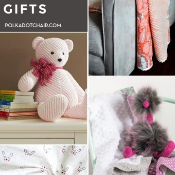 collage image with baby gifts