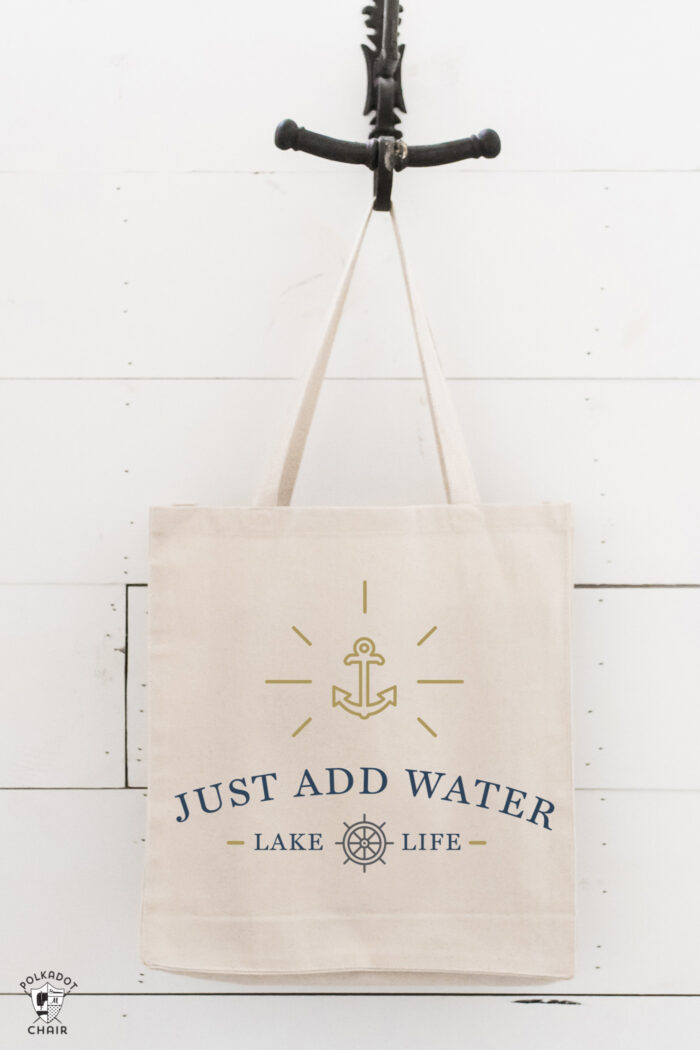 canvas tote bag hanging on hook