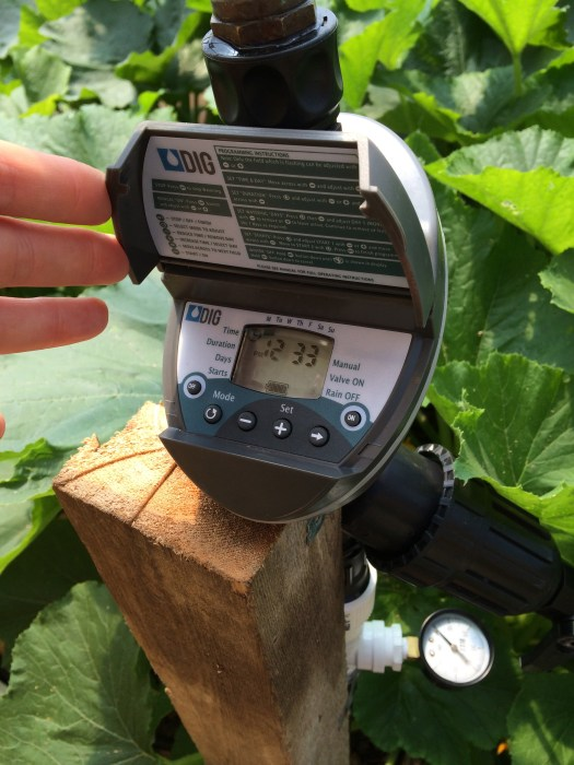 Irrigation timer programs four automatic waterings daily